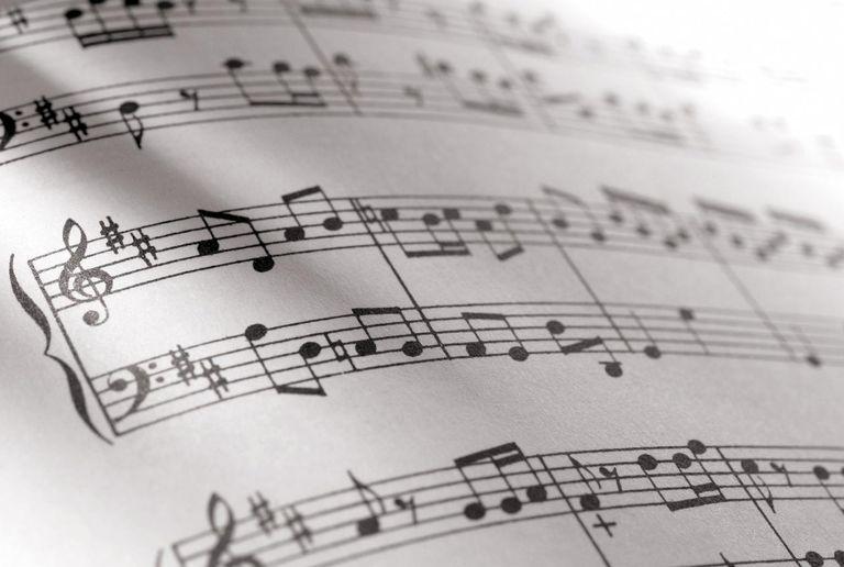 Close-up shot of sheet music