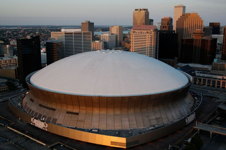 An aerial view of Louisiana Superdome in downtown New Orleans, Louisiana