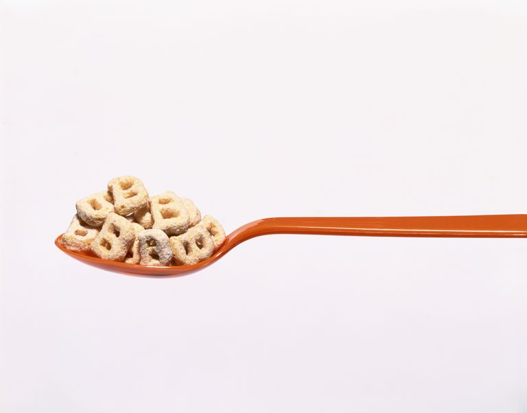 Spoon with cereal shaped like a B