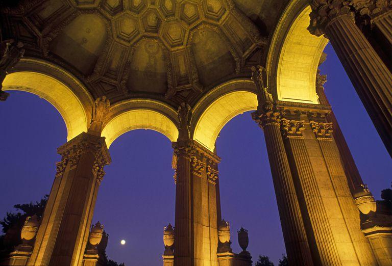 Moonrise at Maybeck's Palace of Fine Arts in San francisco, CA