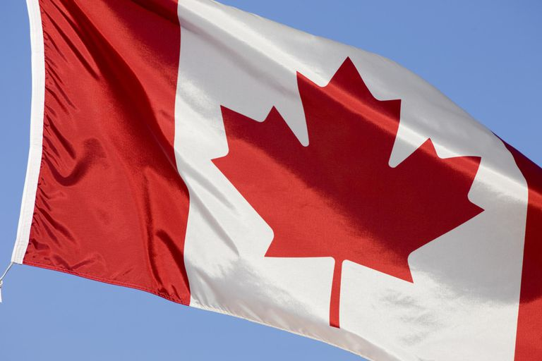 Canadian flag, close-up