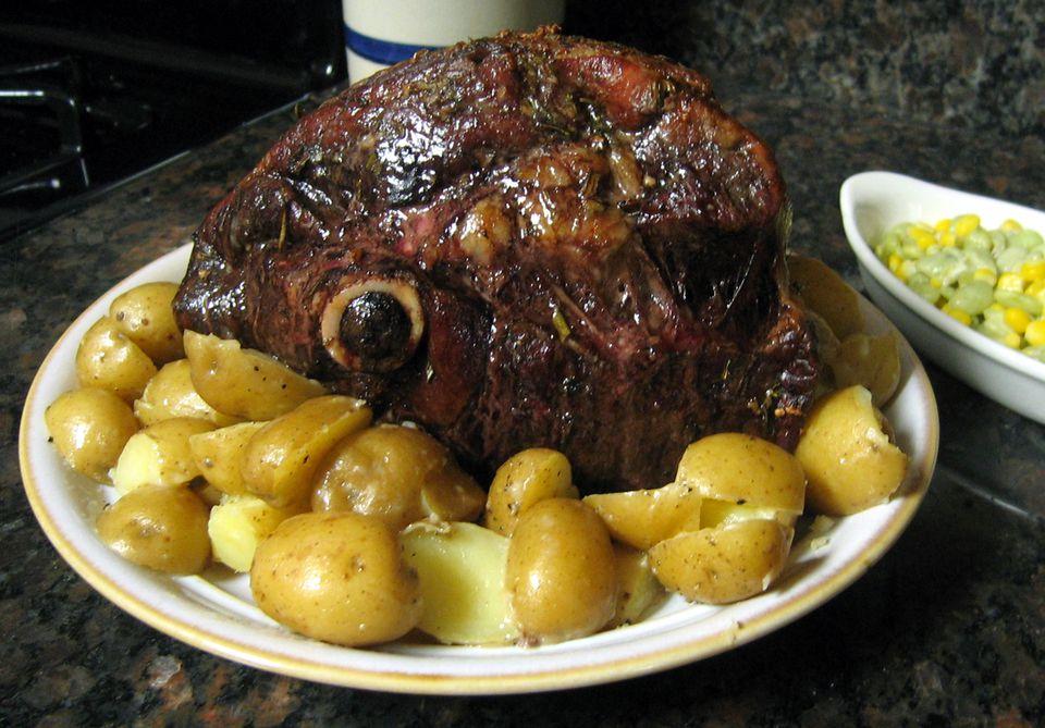 Leg of lamb roasted