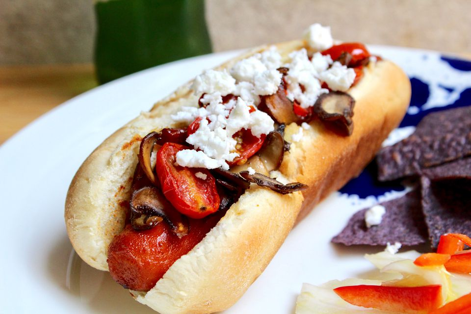 Carrot Hot Dogs with Roasted Tomatoes and Mushrooms