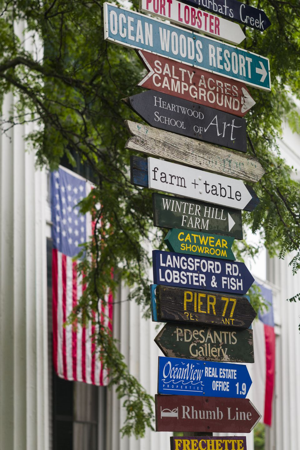 Town signage, Kennebunkport, York County, Maine, USA