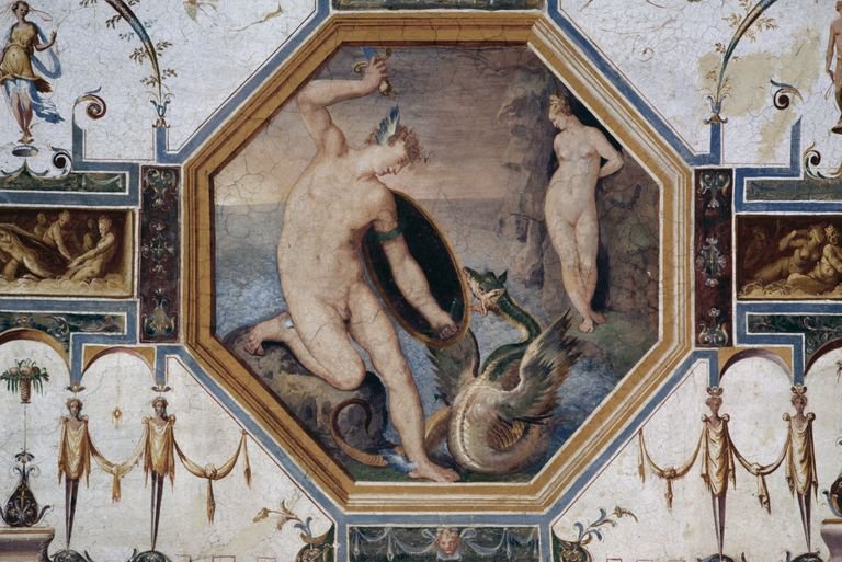 Perseus and Andromeda, fresco in Hall of Judgements of Paris, 1574-1590, Della Corgna Palace or Ducal palace, 1563, Castiglione del Lago, Umbria, Italy, 16th century