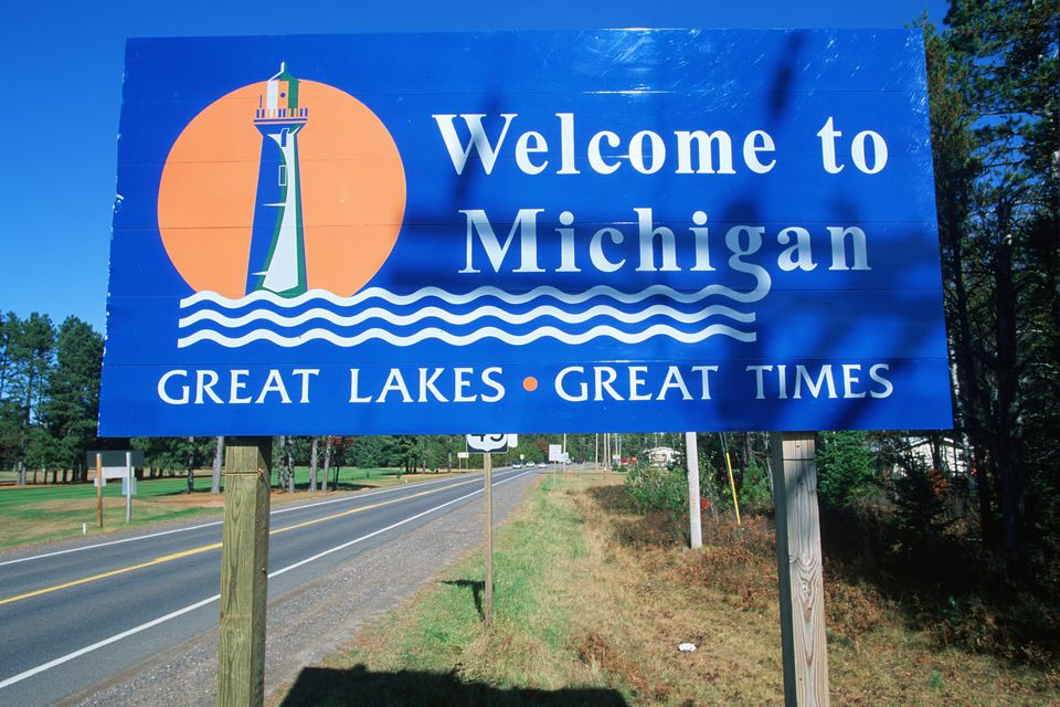 Welcome to Michigan highway sign