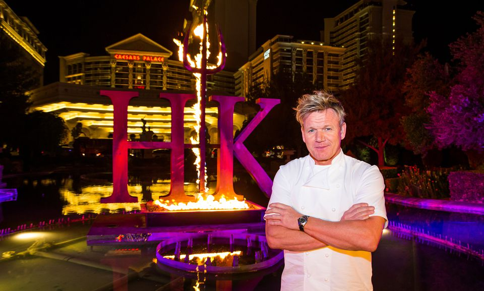 Gordon Ramsey in front of his restaurant at Caesar's Palace, Las Vegas, nighttime