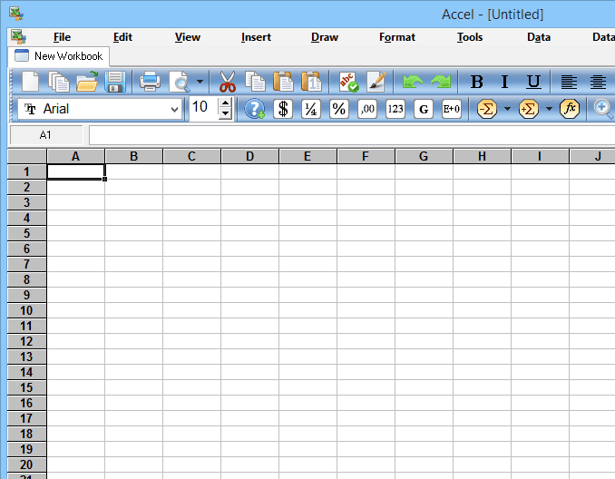 Screenshot of Accel Spreadsheet in Windows 8