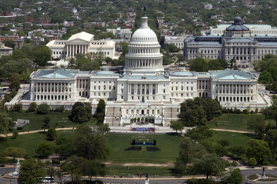 United States Capitol Building, Washington, DC, Supreme Court (L) and Library of Congress (R) in Background