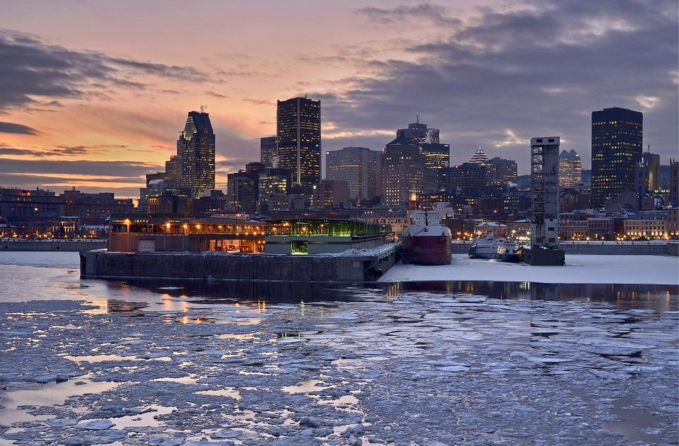 Ice thawing and breaking up at the Old Port in Montreal.