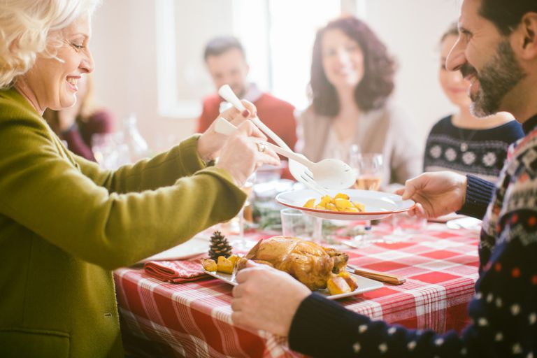 family eating holiday meal