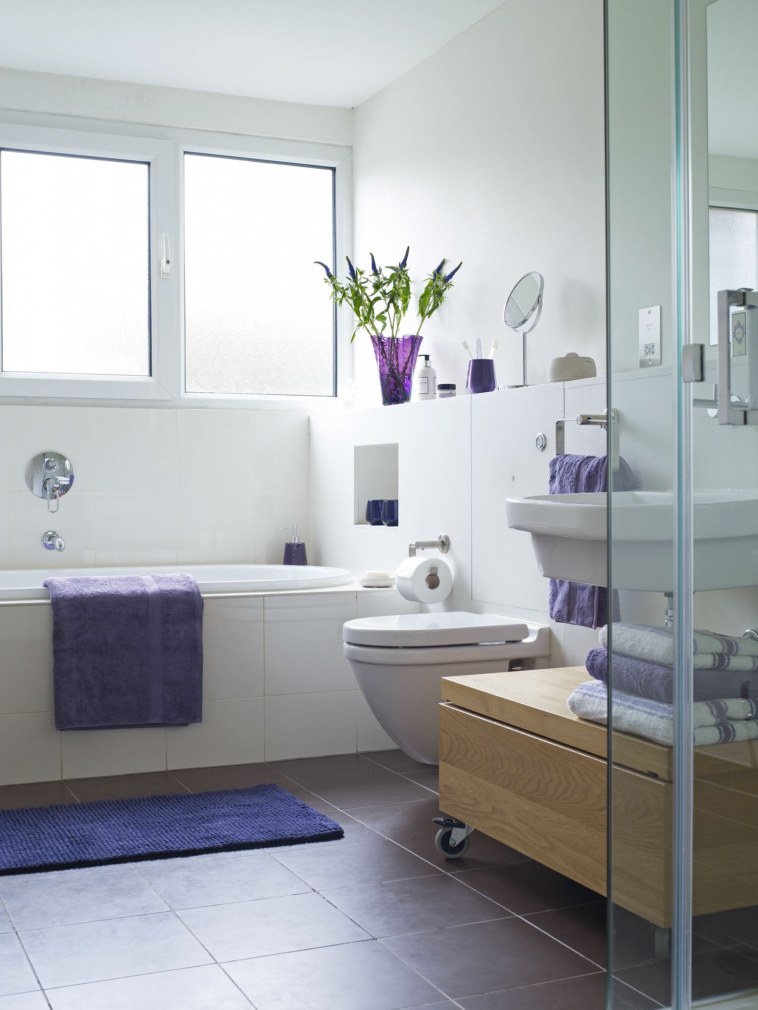 Small Bathroom Photos Ideas - Lilac bath towels for small bathroom ideas