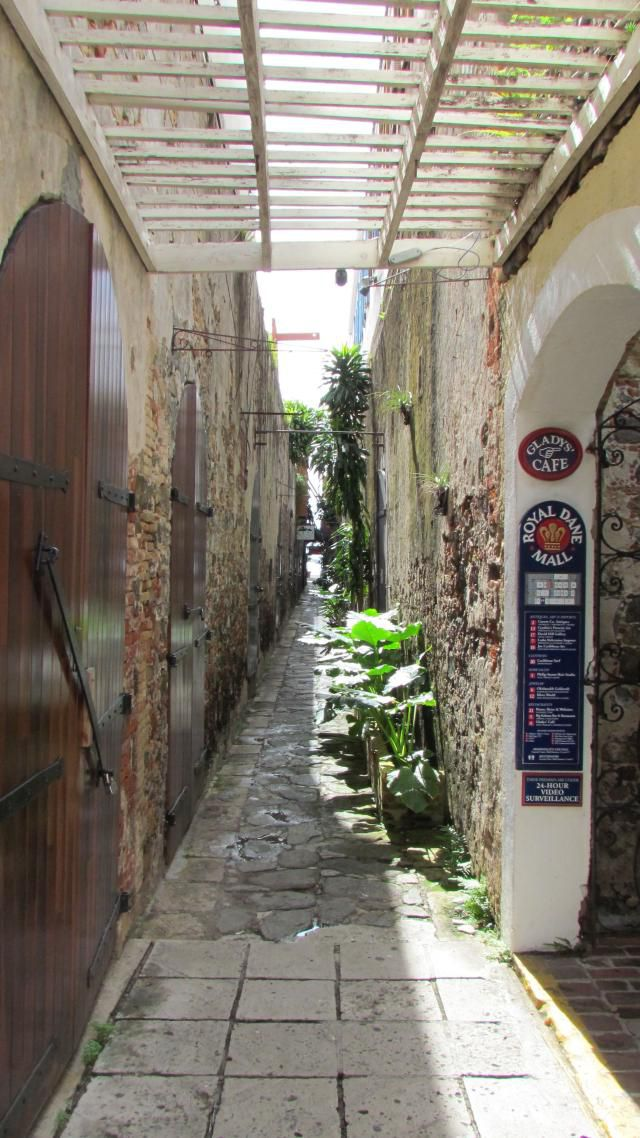 Shopping alley in Charlotte Amalie, the duty-free capital of the Caribbean.