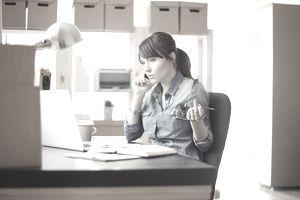 Women at modern home office.