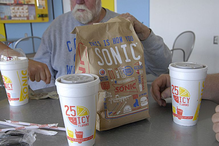 Sonic fast food drive restaurant chain order bood at drive way and sitting table sonic burger menu 29 May 2014