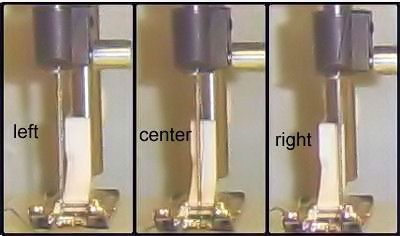A photo showing three needle positions.