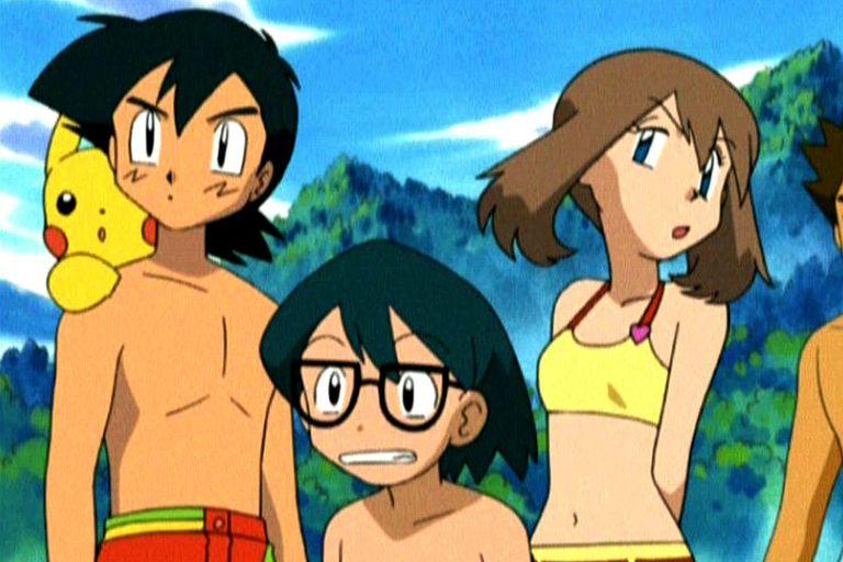 Ash, Pikachu, Max and May in swimsuits ready to swim in Hoenn.