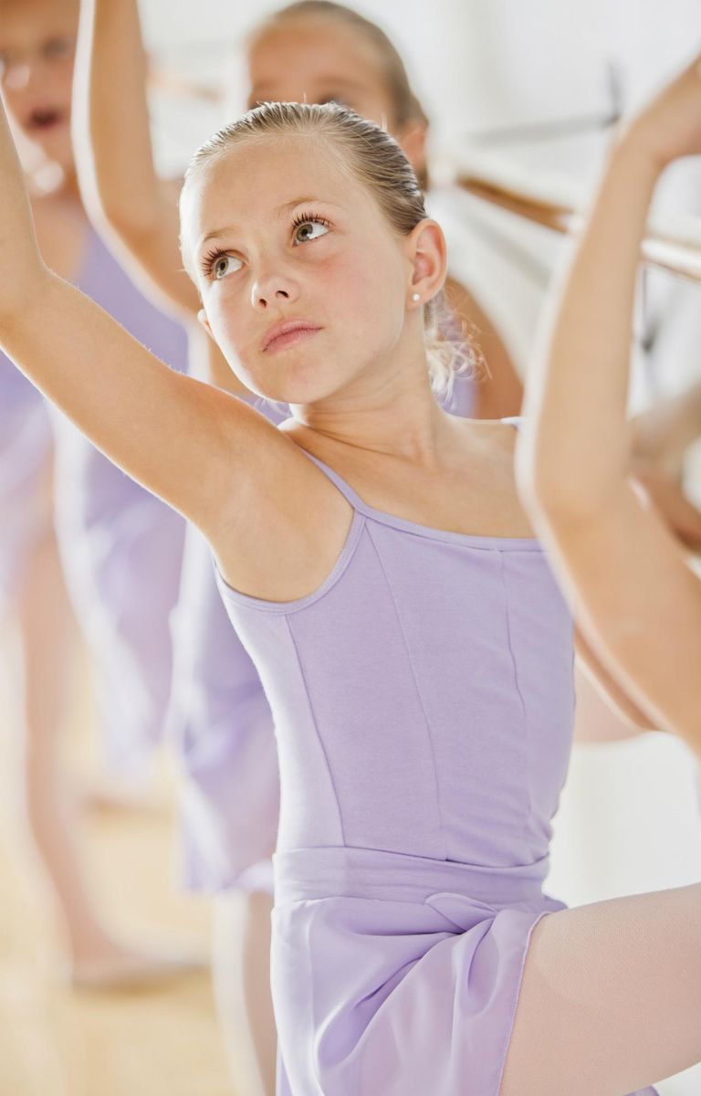 Female ballet dancer (6-7,8-9) in dance studio