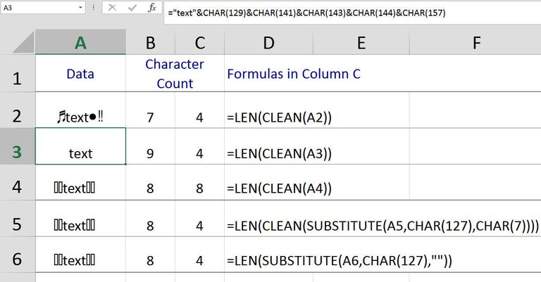 Remove Non-Printable Characters in Excel with the CLEAN Function