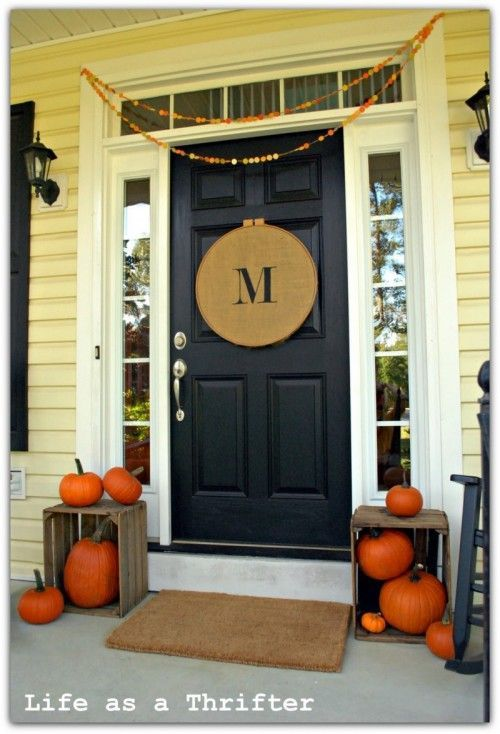 modern traditional fall front porch decor