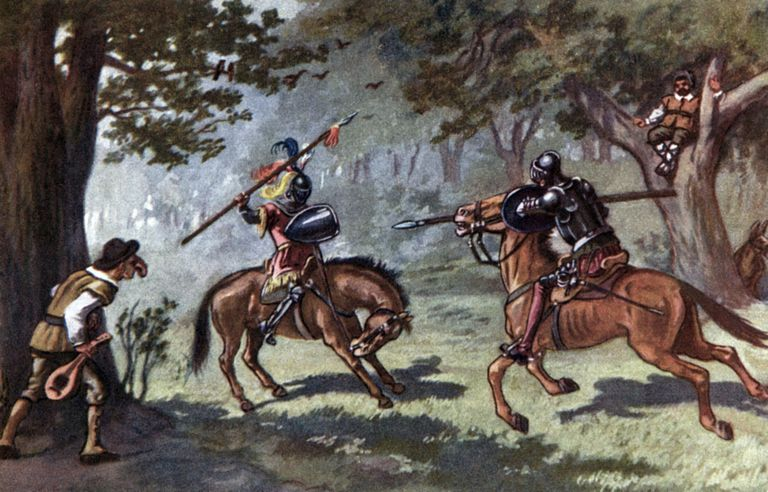 The History of Don Quixote by Miguel de Cervantes - a fight scene. Spanish author,
