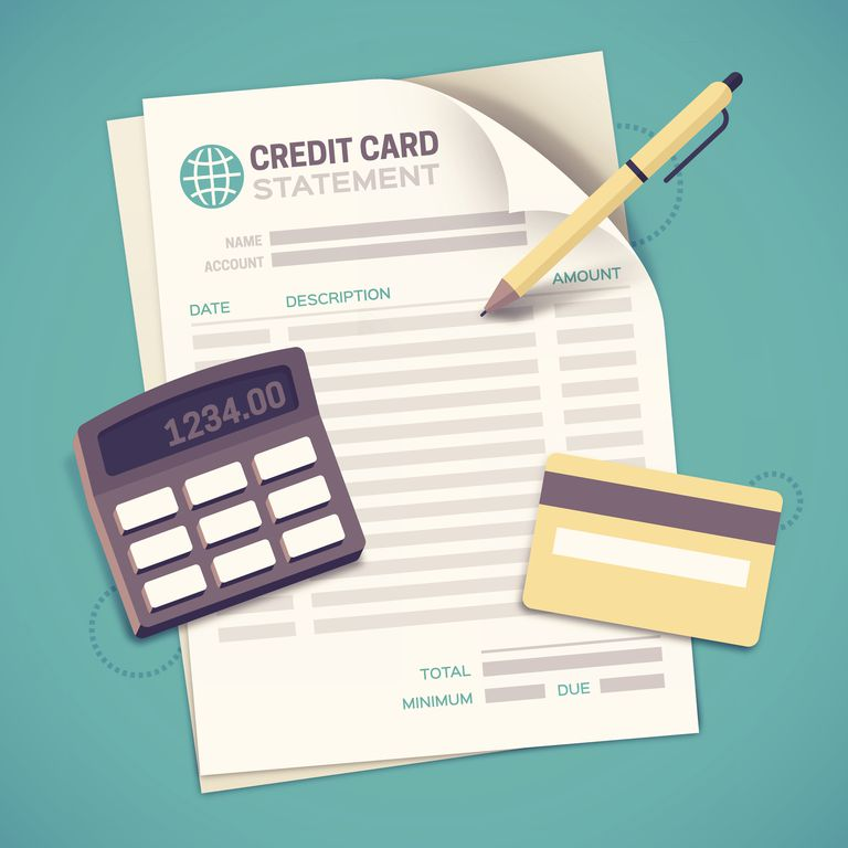 Image of credit card statement, calculator, and credit card
