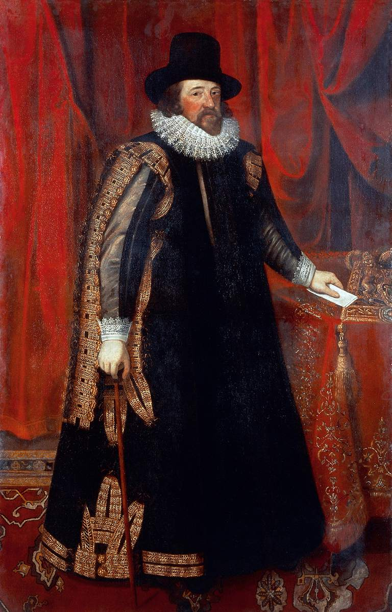 Portrait of Francis Bacon (London, 1561-1626), English philosopher and statesman. Painting from a picture by Paul van Somer (1577-1626). Oil on canvas.