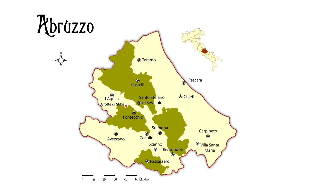 Map And Places To Go In The Abruzzo Region In Italy