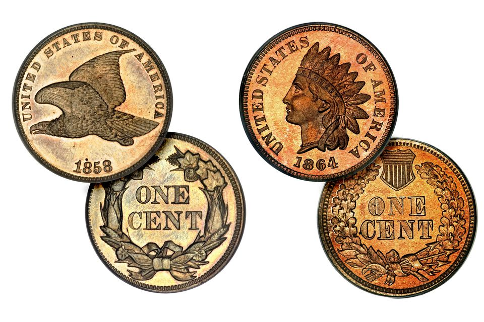 Flying Eagle and Indian Head Pennies