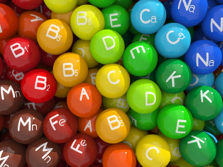 colored balls with vitamin names