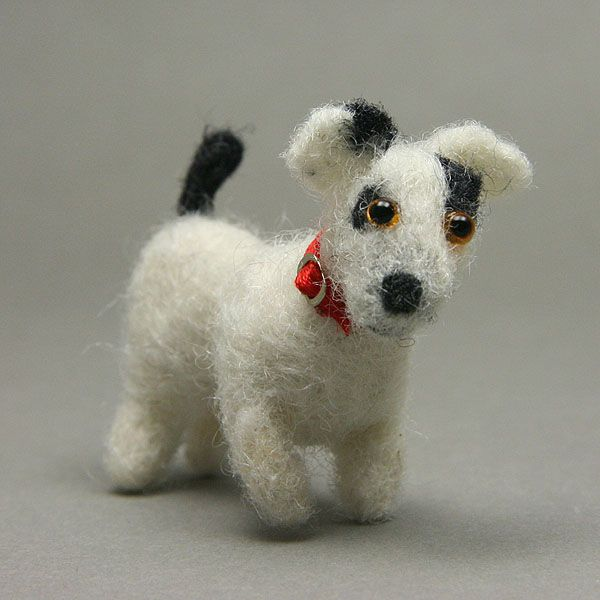 Dollhouse Scale Felted Jack Russell Terrier With a Ribbon Collar