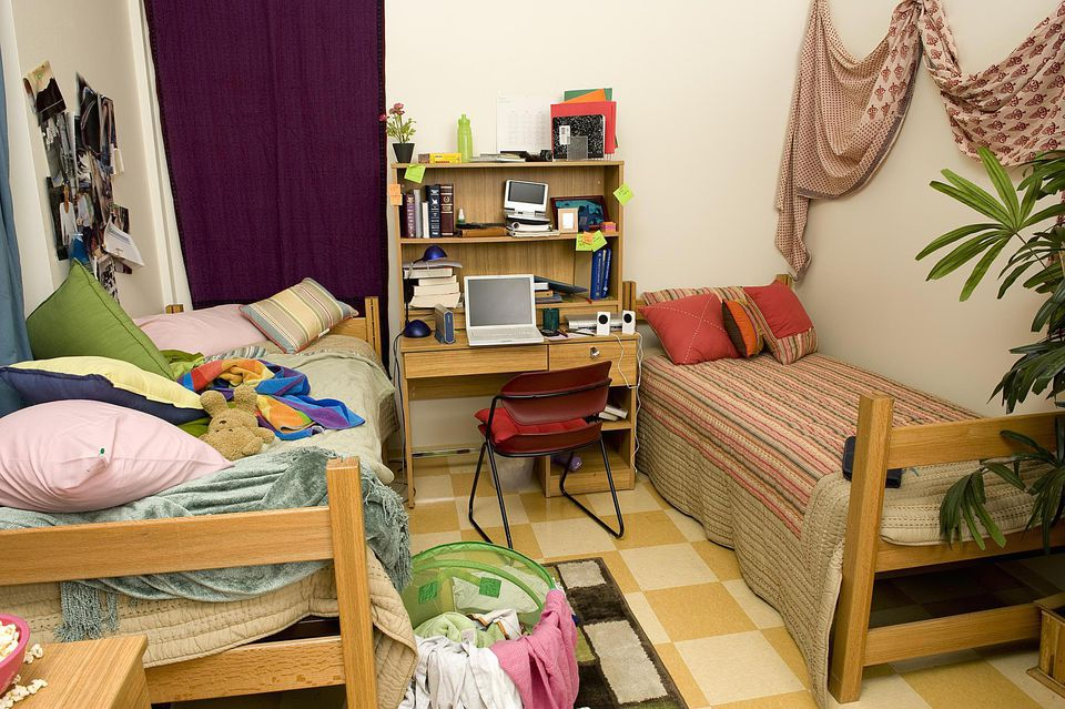 College dorm room of neat and messy roommates