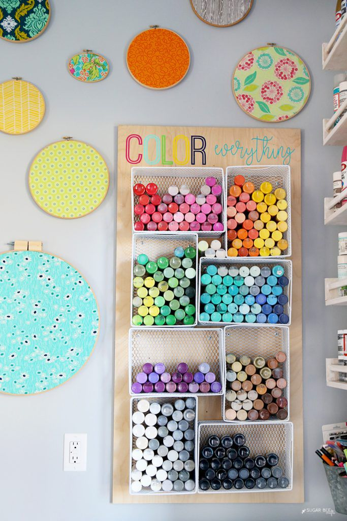Organizing paint in a craft room