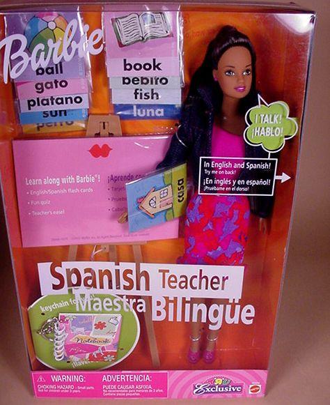 Spanish Teacher Barbie in box.