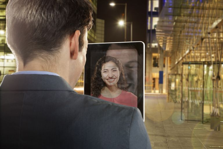 Skype messaging on tablet.