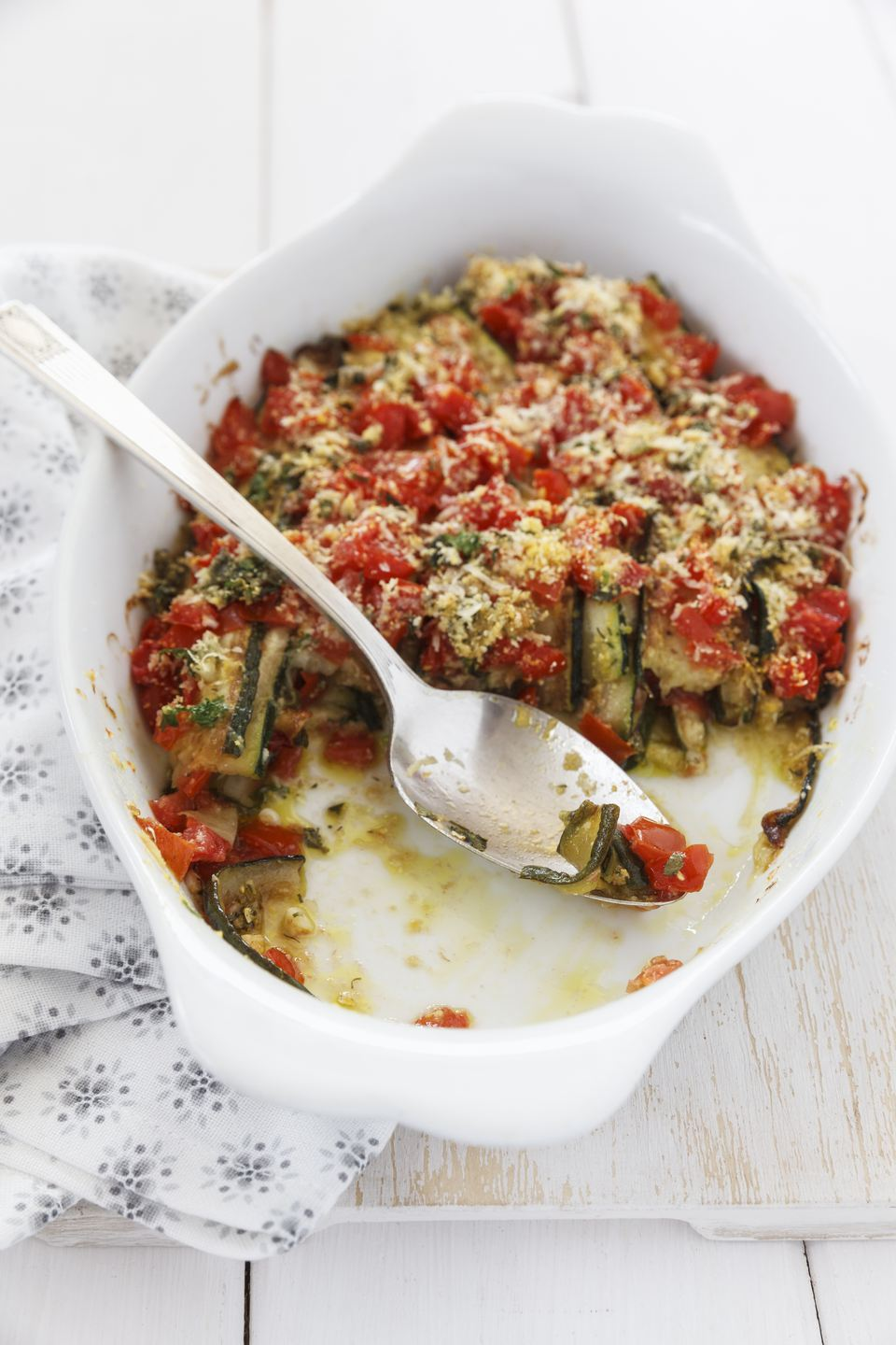 A bowl of zucchini and tomato casserole