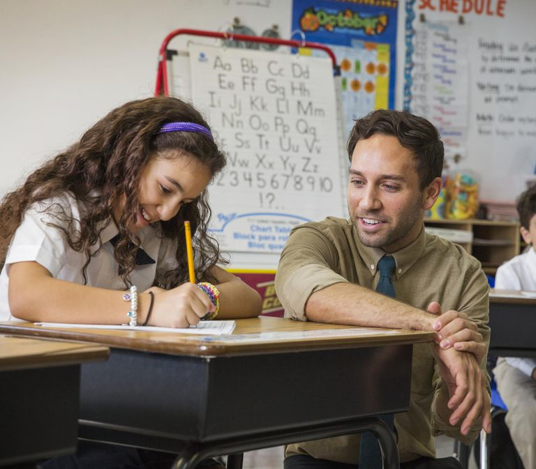 Teacher Helping School Girl with Assignment