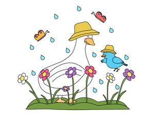 A duck, bird, butterflies, and flowers caught in the rain
