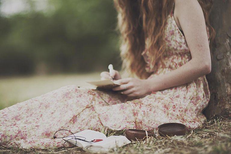 Girl writes a letter
