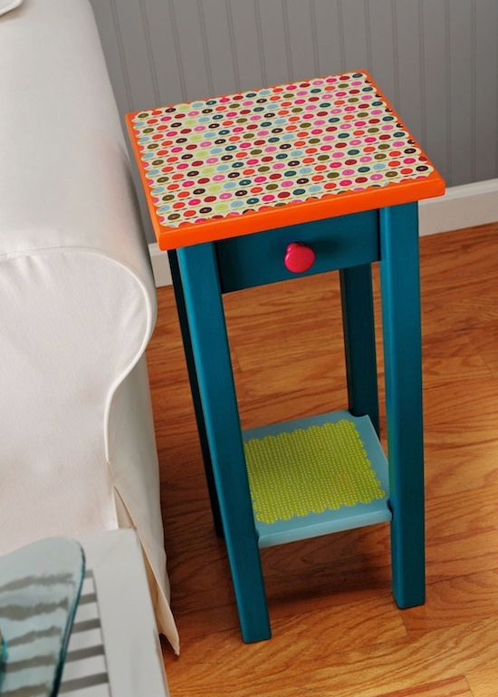 colorful decoupaged side table