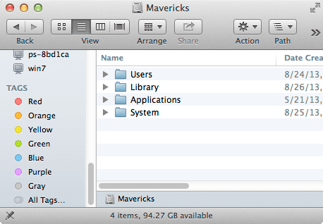 The Finder sidebar includes a special Tags section