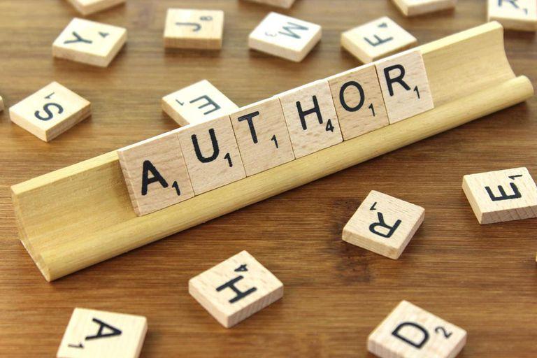 'author' spelled in Scrabble tiles