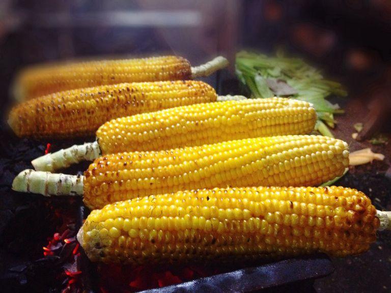 corn cobs grilling