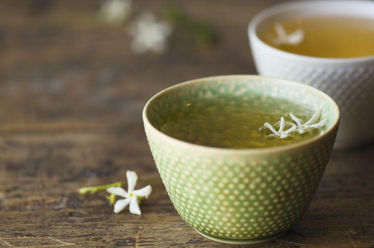 Close up of jasmine tea in teacup