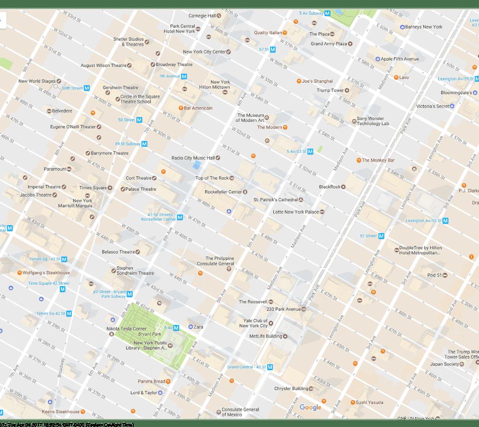 Map of Rockefeller Center Area, New York City