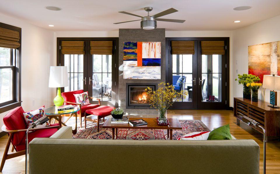 Contemporary Colorful Living Room Kristen Rivoli Interior Design