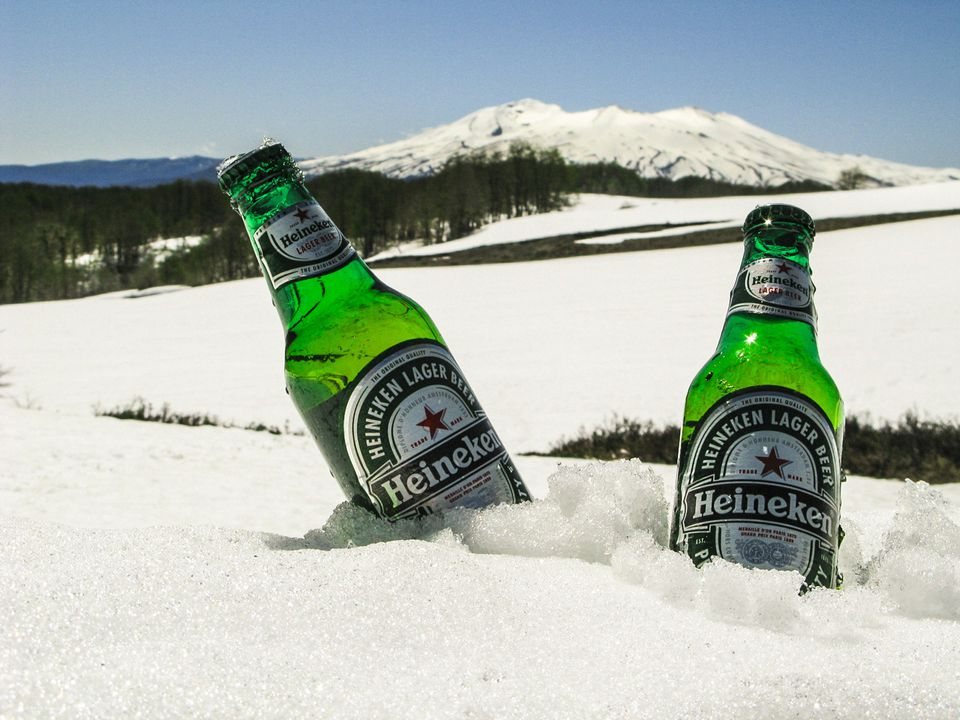 Beer in the snow