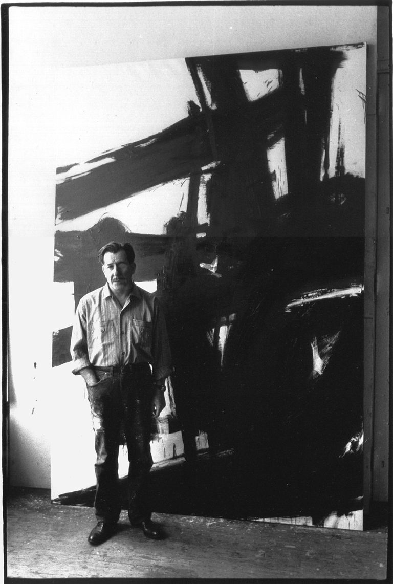 American painter Franz Kline in his studio