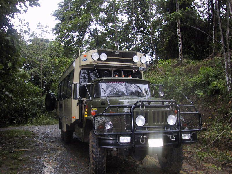A six-wheel drive vehicle in Costa Rica