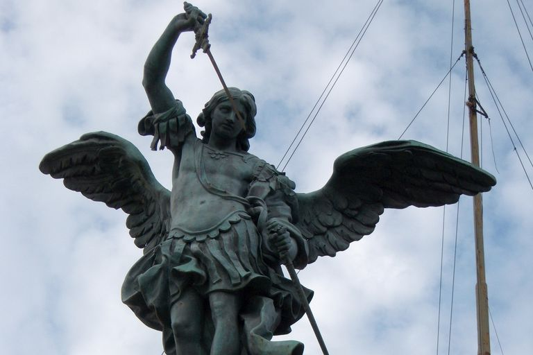 A statue of St. Michael the Archangel atop Castel Sant'Angelo in Rome. (Photo © Scott P. Richert)